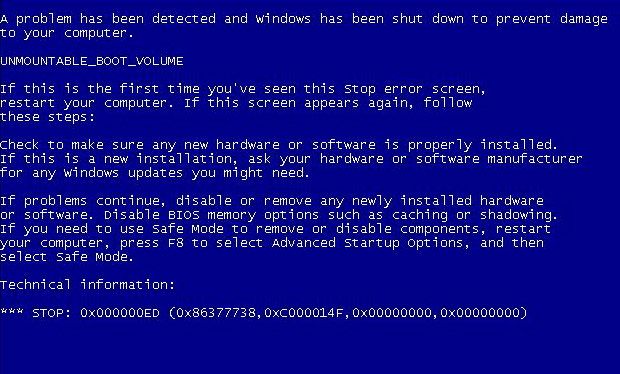 bsod 0x000000ed windows xp как исправить