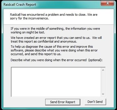 Как исправить RaidCall Crash Report?