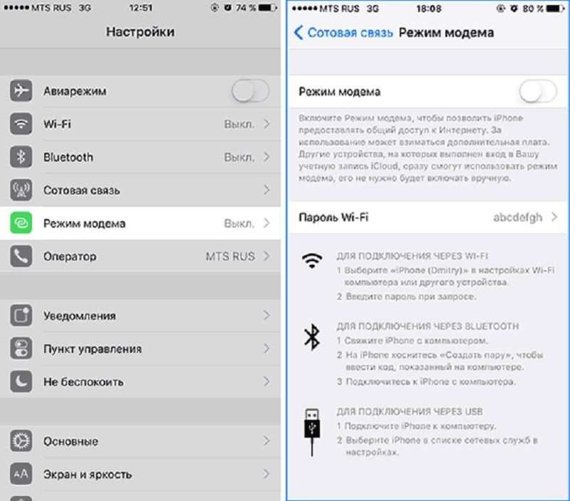 Включение режима модема на iPhone в настройках
