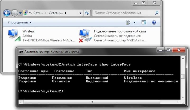 Отключение или включение сетевого адаптера с помощью команды Netsh в Windows 10